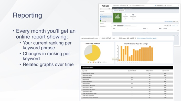 receive monthly SEO report on the performance of your marketing campaign